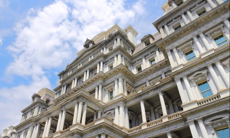 The Eisenhower Executive Office Building is shown in Washington in the spring.