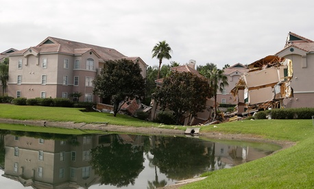 A 2013 sinkhole in Clermont, Fla. damaged three buildings.