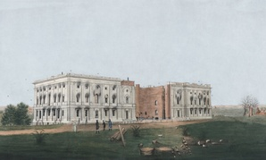 Artist George Munger painted a scene of the Capitol after it was burned.