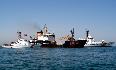 Coast Guard ships traverse the Persian Gulf in 2003.