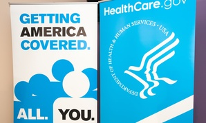 A sign advertising the administration's health care marketplace is shown in Chicago in 2013.