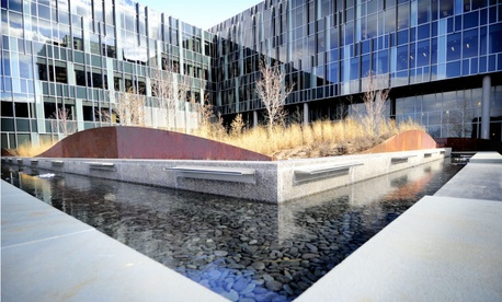 A Coast Guard headquarters courtyard at the St. Elizabeths campus.