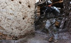 U.S. Army Pfc. Perry Price patrols the village of Aliabad in Kunar province, Afghanistan.
