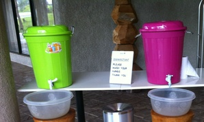 A hand-washing station at the airport in Sierra Leone.