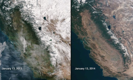 NASA and  NOAA released photos of the California drought recently.