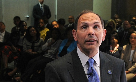 VA chief Bob McDonald holds a town hall meeting in Washington. McDonald has promised to hold executives accountable for misconduct.