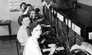 Telephone operators work in Seattle in 1952.