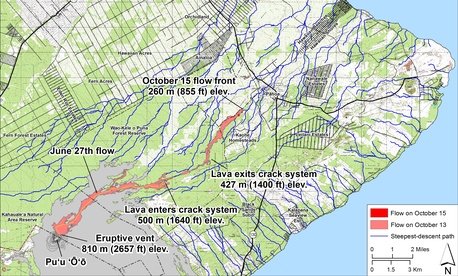 The lava flow the started June 27 has slowed recently but is less than a mile from populated areas.