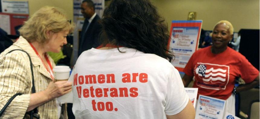 Women attend a veterans training summit in Washington.