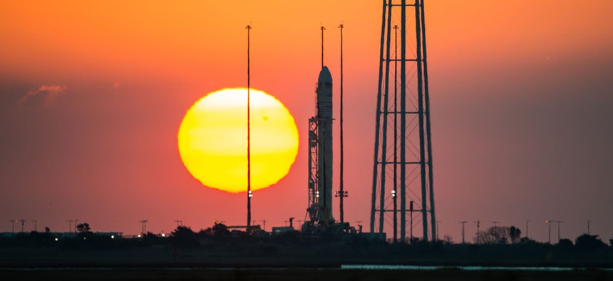 The Antares rocket is shown Sunday, two days before it exploded on launch.