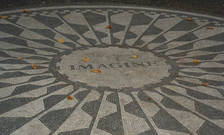 Strawberry Fields Memorial in Central Park, New York City.