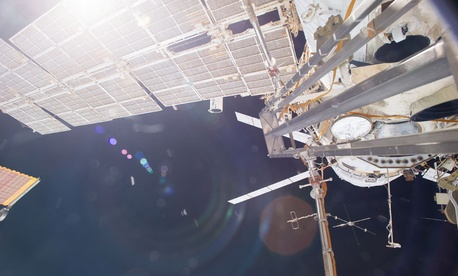 The ISS, with the European automated transfer vehicle Georges Lemaître docked, in October 2014.