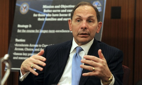 "VA chief Bob McDonald cited progress but acknowledged there is still ""work to do."""