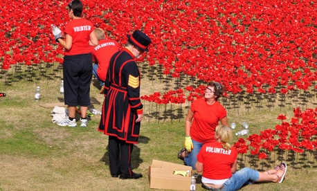 A yeoman and volunteers installing 888,246 ceramic poppies on August 7, 2014 commemorate the First World War British and colonial military fatalities.
