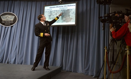 John Kirby, the Pentagon press secretary, outlines part of the strategy against ISIS in September.