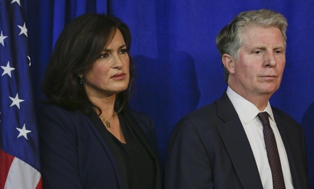 """Mariska Hargitay of """"Law & Order: SUV,"""" left, and Manhattan District Attorney Cyrus Vance Jr. at a press conference on Wednesday."""