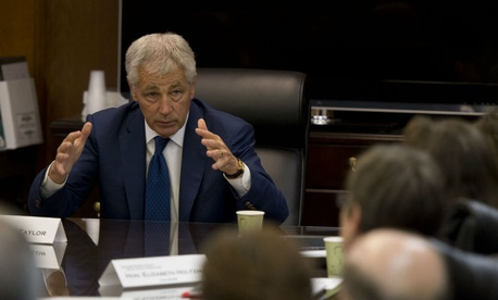 Defense Secretary Chuck Hagel meets with members of the Sexual Assault Response Systems Panel  in 2013.