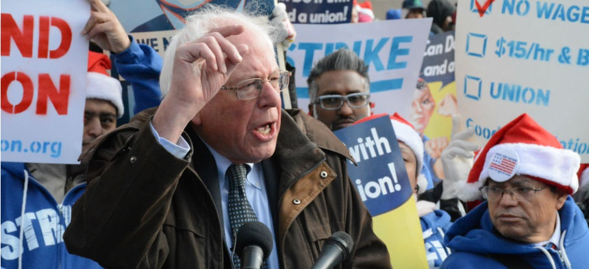 """""""Enough is enough! Millions of workers who are trying to put bread on the table and working 40 hours a week should not be living in poverty,"""" said Sen. Bernie Sanders, I-Vt."""