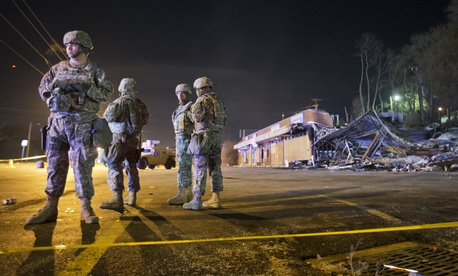 National guard troops in Ferguson, Missouri.