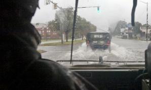 Virginia National Guard soldiers patrol in Norfolk, Va., during Hurricane Sandy in 2012.