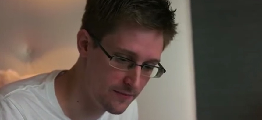 Edward Snowden appears in the trailer for the film Citizenfour.