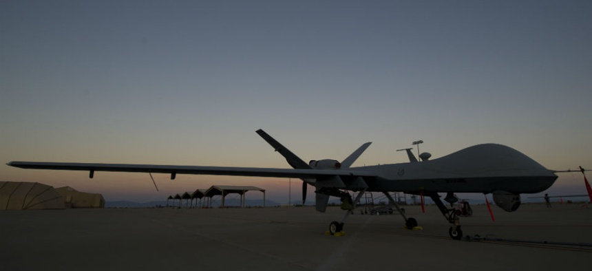 An MQ-9 Reaper drone awaits maintenance at Holloman Air Force Base, N.M.