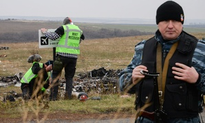 Pro-Russian rebel fighter guard an area of the Malaysia Airlines Flight 17 plane crash in the village of Hrabove, Donetsk region, eastern Ukraine.