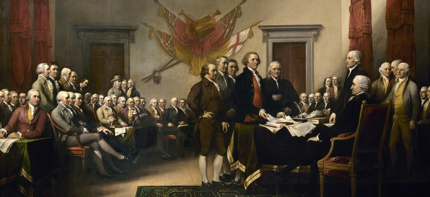 John Trumbull's painting, Declaration of Independence, depicts a bunch of men arguing in the 18th century.