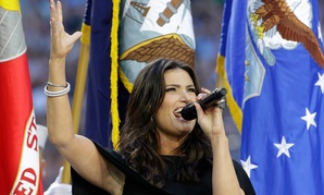 Idina Menzel sang the Star-Spangled Banner before Super Bowl XLIX.