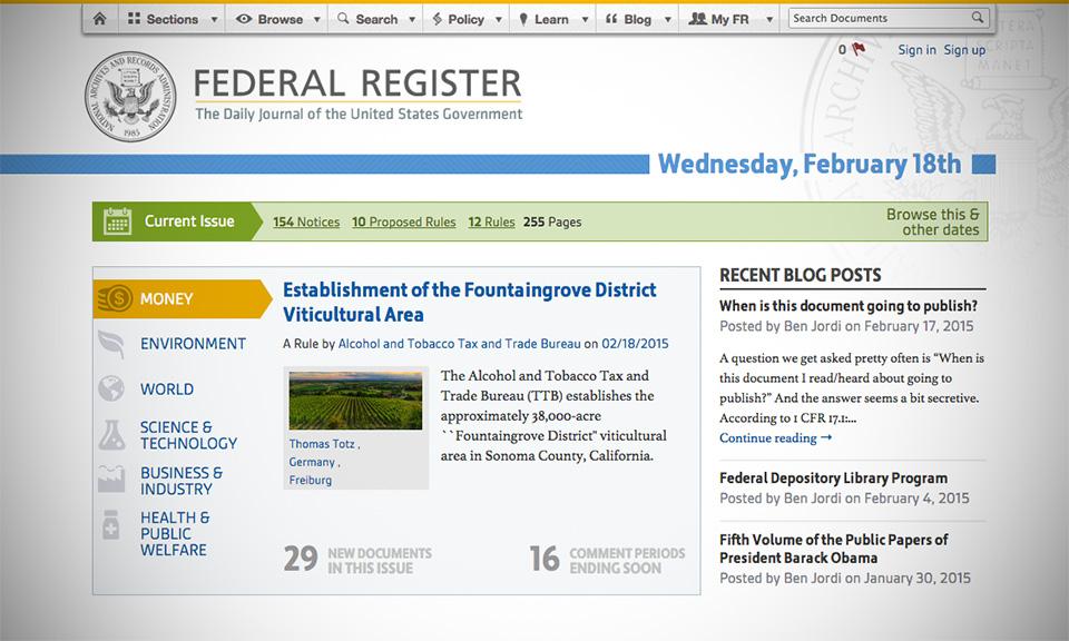 federal register current