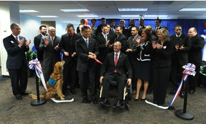 The 2012 ribbon cutting ceremony for VA's Warriors to Workforce program, which won an innovation award.