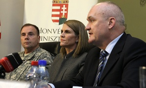 U.S. Army Europe's commander Lt. Gen. Frederick Hodges, United States Ambassador to Hungary Colleen Bell and Hungarian Defense Minister Csaba Hende as they give a press conference in Hungary in February.