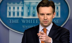 White House press secretary Josh Earnest points to a reporter during his press availability Monday.