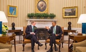 Barack Obama meets with Irish Prime Minister Enda Kenny in the Oval Office Tuesday.