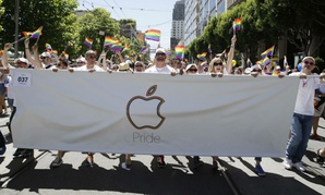 Apple Computer employees and family members march during the 44th annual San Francisco Gay Pride parade in June.