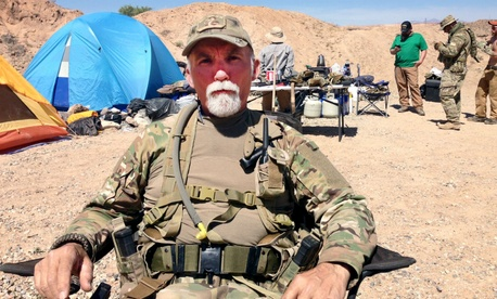 Jerry DeLemus heads a group of self-described militia members camping on Cliven Bundy's ranch in Nevada in April 2014.