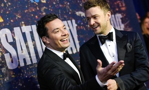 Jimmy Fallon, left, and Justin Timberlake attend the SNL 40th Anniversary Special in February