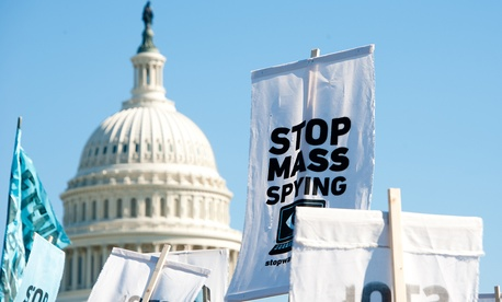 Protestors rally against NSA surveillance in Washington in 2013.