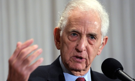 """Daniel Ellsberg was the first in modern times prosecuted under the Espionage Act, he said, followed by two others. But Obama has prosecuted 10 and """"set the precedent for successors."""""""