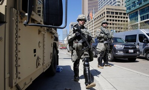 Maryland National Guardsmen patrol in downtown Baltimore Tuesday.