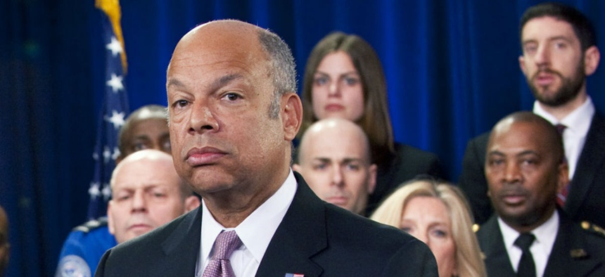 """""""Those who keep telling my workforce that 'you have low morale' are not helping, frankly,"""" DHS chief Jeh Johnson told lawmakers."""