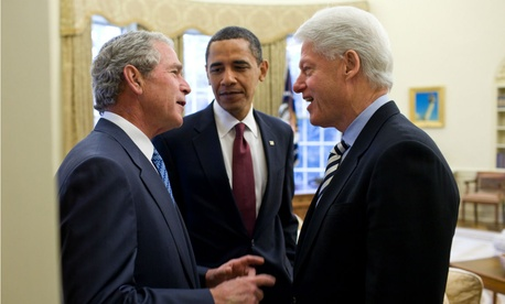 President Obama discusses relief efforts for Haiti with former Presidents Bush and Clinton in January 2010.