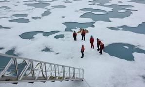 NASA scientists study the Chukchi Sea ice in 2011.