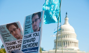 Protestors rally against NSA surveillance in 2013.
