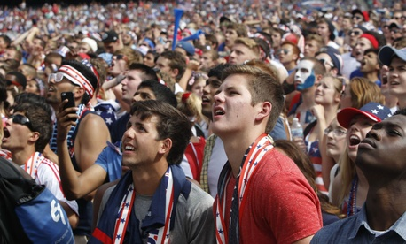 American fans watch the U.S. take on Belgium at a watch party in Chicago's Soldier Field in 2014.