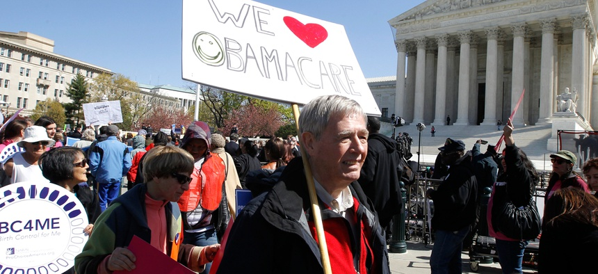Affordable Care Act supporters rally outside the Supreme Court in 2012.