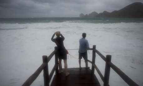 People await the arrival of Hurricane Blanca in Cabo San Lucas, Mexico.