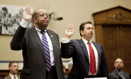 TIGTA J. Russell George (left) and deputy Tim Camus are sworn in before the House Oversight and Government Reform Committee.