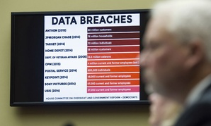 A chart of data breaches is shown on Capitol Hill in Washington, Tuesday, June 16, 2015, as witnesses testify before the House Oversight and Government Reform committee's hearing on the Office of Personnel Management data breach.