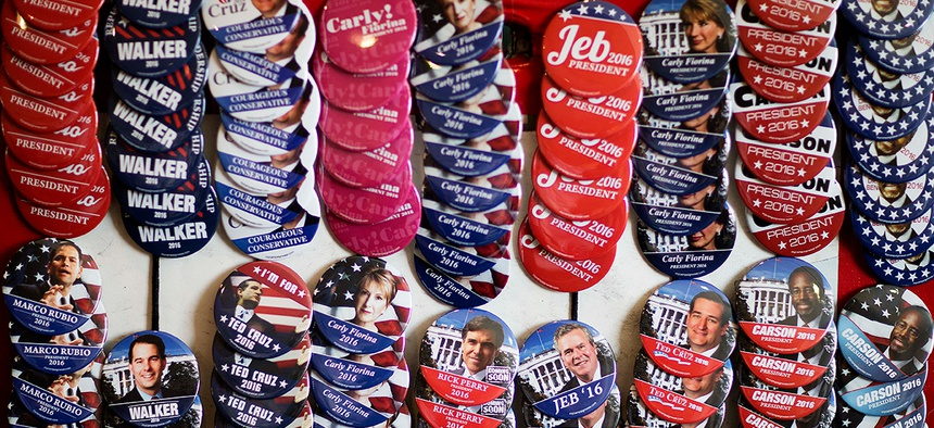 Campaign buttons are displayed for sale outside the Georgia Republican Convention floor in May in Athens.